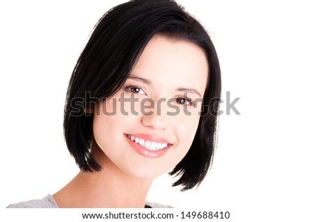 Happy beautiful woman portrait, isolated on white - stock photo