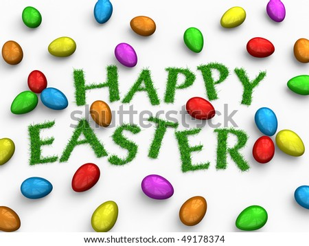 'happy easter'; text made of grass lying among colorful shiny eggs, over the white background