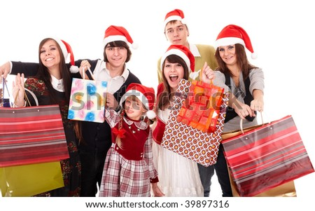 Happy family with group shopping bag. Isolated.