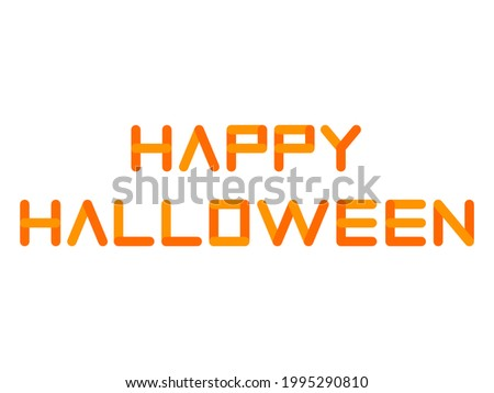 'HAPPY HALLOWEEN' Halloween color (orange) title logo [Rectangle plate with rounded corners ver.] Foto stock ©