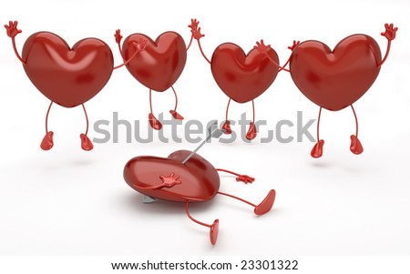 4 happy hearts jumping  around another one lying on the floor pierced by cupid arrow. This image contain a clipping path for exact isolation from the background if needed to replace or change color