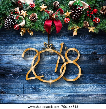 2018 Happy New Year and  Merry Christmas Frame with Snow and real wood green pine #756166318