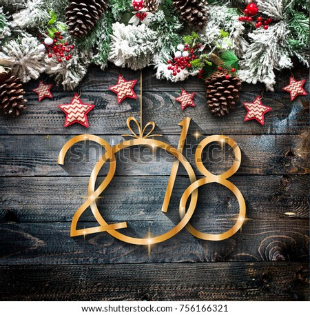 2018 Happy New Year and  Merry Christmas Frame with Snow and real wood green pine #756166321