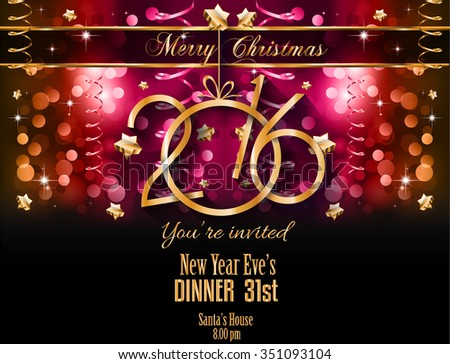 2016 happy new year background for seasonal greetings cards and christmas parties flyer dinner event