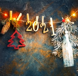 2021 happy new year background over dark stone