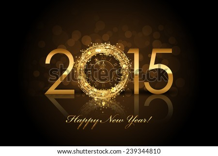 2015 Happy New Year background with gold clock