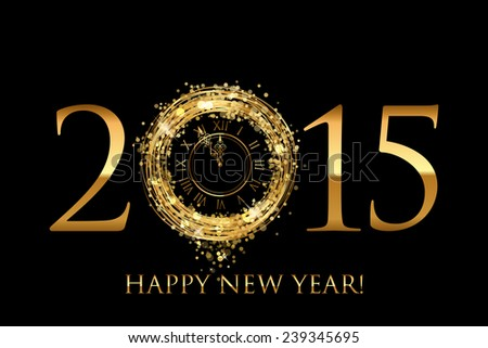 2015 Happy New Year background with gold shiny clock #239345695