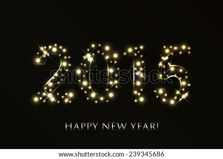 2015 Happy New Year background with gold sparkles #239345686