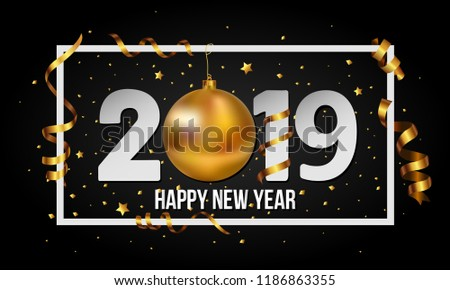 2019 Happy New Year background with golden christmas ball bauble and stripes elements