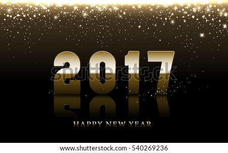 2017 Happy New Year background with golden falling stars, brown background #540269236