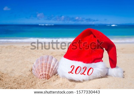 2020 Happy New Year background with Santa Claus Hat and seashell on the tropical beach near ocean in Hawaii #1577330443