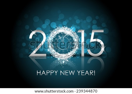 2015 Happy New Year background with silver clock