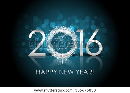 2016 Happy New Year background with silver clock