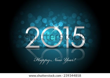 2015 - Happy New Year blue background blur