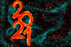 2021 Happy New Year card background with dark space for your text. Black Lives Matter modern dark graffiti like digital painting wallpaper in rustic fiery red, teal blue, burgundy purple black colors