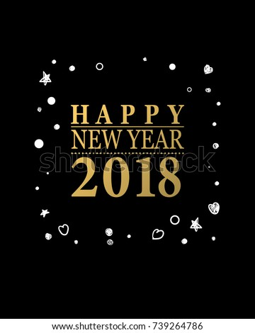 2018 Happy New Year Card Or Background Trendy Style With Hand