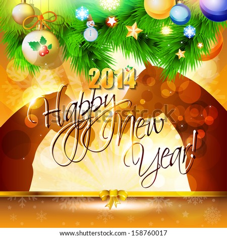 2014 Happy New Year card or background with horse, balls, snowflakes and stars. - Shutterstock ID 158760017