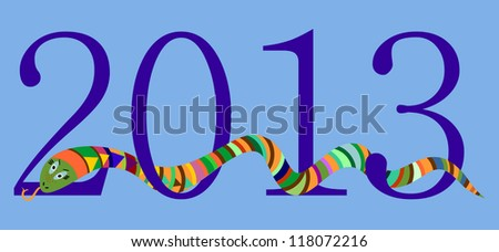 2013 Happy New Year, Chinese Year of Snake, Blue Digits on Sky Blue Background, Raster Version