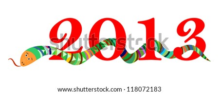 2013 Happy New Year, Chinese Year of Snake, Red Digits on White Background, Raster Version