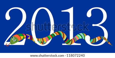 2013 Happy New Year, Chinese Year of Snake, White Digits on Blue Background, Raster Version