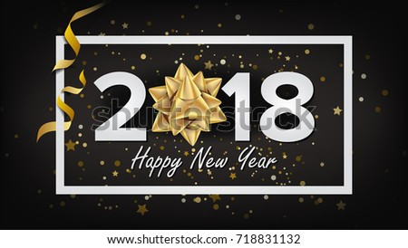 2018 Happy New Year. Christmas Greeting Card, Poster, Brochure, Flyer Template Design. Party Banner Illustration #718831132