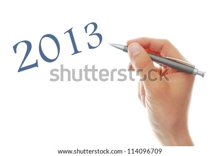 2013 Happy New Year Concept on white background