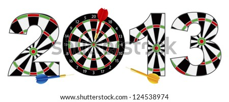 2013 Happy New Year Dartboard with Darts on Target Bullseye Illustration Isolated on White Background Raster Vector