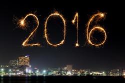 2016 Happy New Year Fireworks celebrating over Pattaya beach at night, Thailand