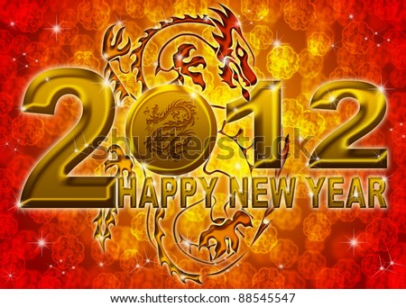 2012 Happy New Year Golden Chinese Dragon on Blurred Background