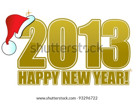 2013 happy new year golden sign with Santa's hat