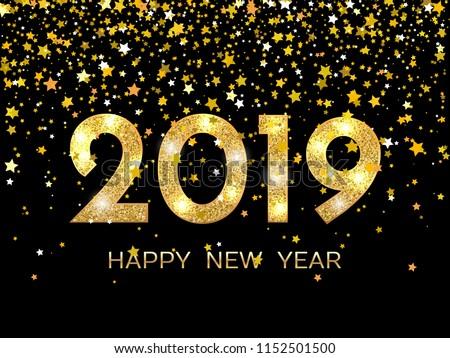 2019 Happy New Year. Golden stars on dark background. New Year 2019 greeting card. Background with golden numbers and stars. Raster version.