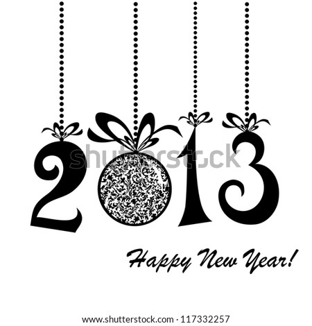 2013 Happy New Year greeting card or background. illustration