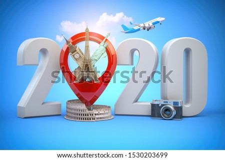 2020 Happy new year. Number 2020 and pin with most popular landmarks of the world. New year celebration in London, Paris, Rome or New York. 3d illustration