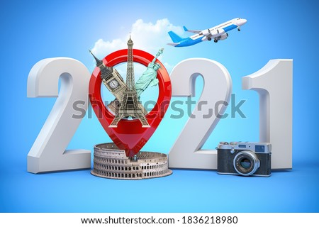 2021 Happy new year. Number 2021 and pin with most popular landmarks of the world. New year celebration in London, Paris, Rome or New York. 3d illustration