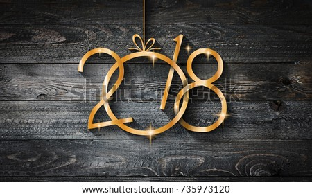 2018 Happy New Year seasonal background with real wood background., Aged parquet of pine wood for flyer, posters or invitations. #735973120