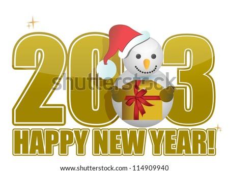 2013 Happy new year snowman text illustration