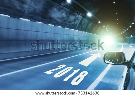 2018 happy new year,tunnel in the night