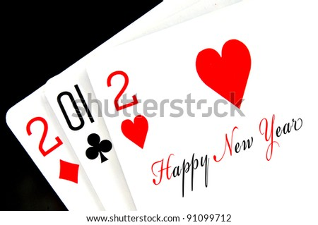 2012 happy new year written in playing cards