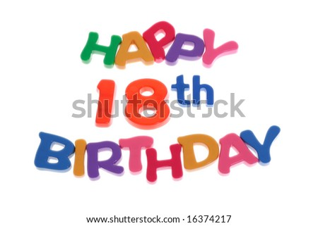 """Happy 18th Birthday"" letter blocks arranged on white background"