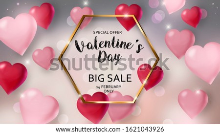 Happy Valentines Day Sale Seasonal Banner.