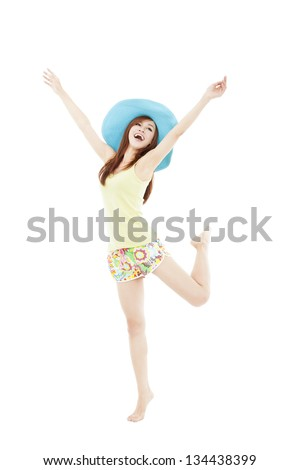 happy young woman dancing in summer during vacation isolated on white