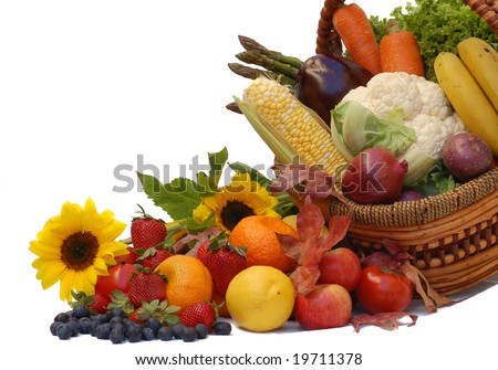 harvest- fresh fruits and vegetables in a basket