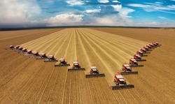 22 Harvesters working in soybean harvest in the state of Mato Grosso, Brazil