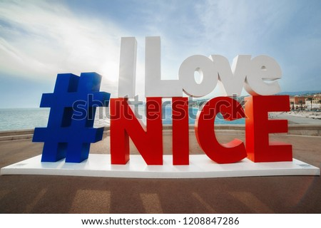 hashtag I Love Nice sign with the view of English Promenade, most famous touristic place