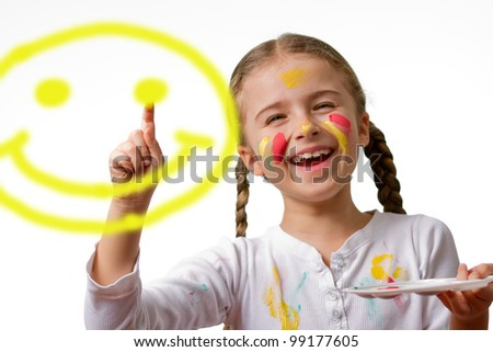 """Have A Nice Day"" Smile Face! , lovely girl painting emoticon"