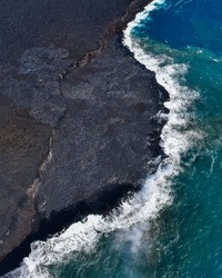 [Hawaii] The Big Island - A doors off Paradise Helicopters tour showing the continuous erupting of Kilauea dripping into the ocean and slowly increasing the size of The Big Island.
