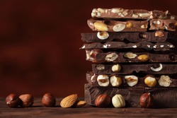 Hazelnut and almond milk and dark chocolate pieces  tower