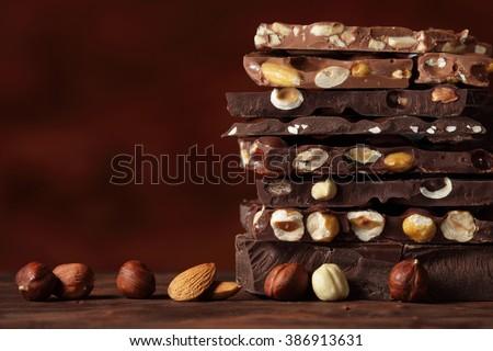 Hazelnut and almond milk and dark chocolate pieces  tower