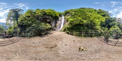 360 hdri panorama high in the mountains near a waterfall  in equirectangular spherical projection, VR AR content.  seamless