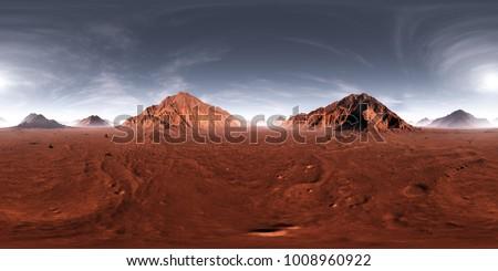 360 HDRI panorama of Mars sunset. Martian landscape, environment map. Equirectangular projection, spherical panorama. 3d illustration
